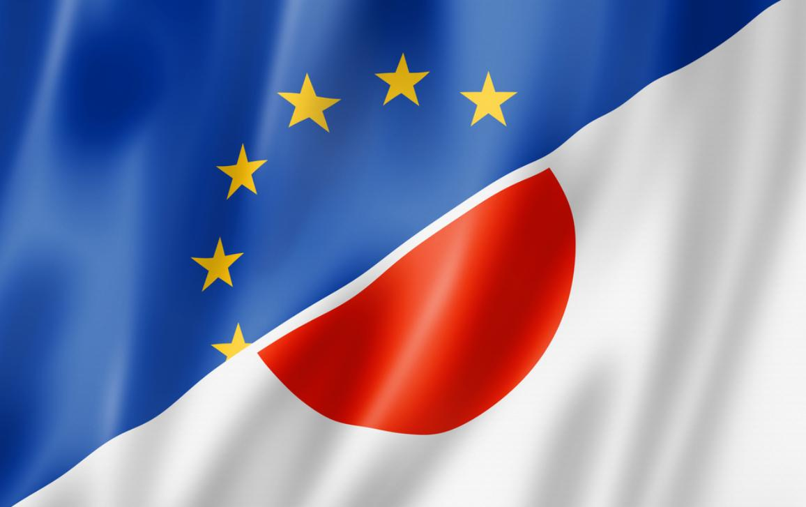 Mixed Europe and Japan flag
