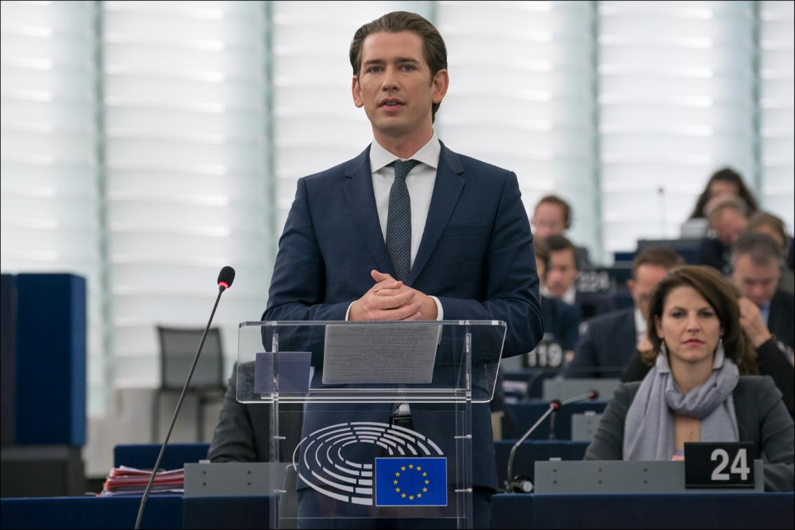 Austrian Chancellor Sebastian KURZ addressing the plenary_
