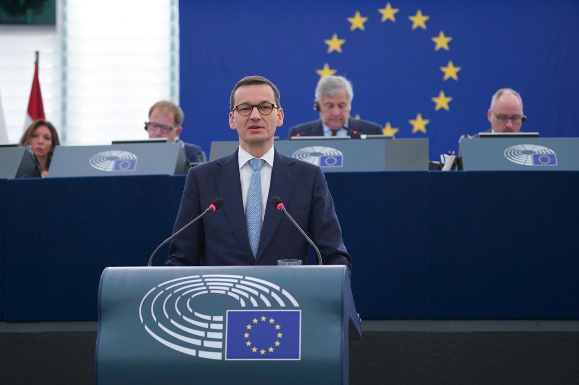 Polish Prime Minister Mateusz Morawiecki at the debate on the Future of Europe © European Parliament 2018