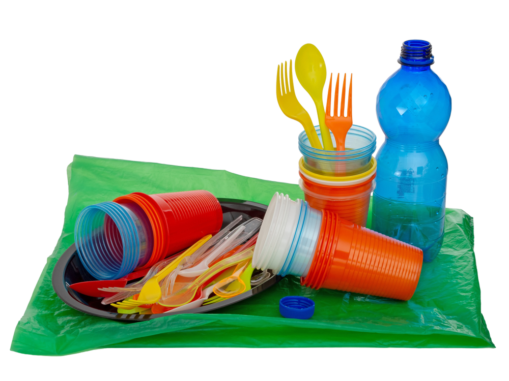 Single use, disposable plastic item including cutlery, glasses, plates and bag