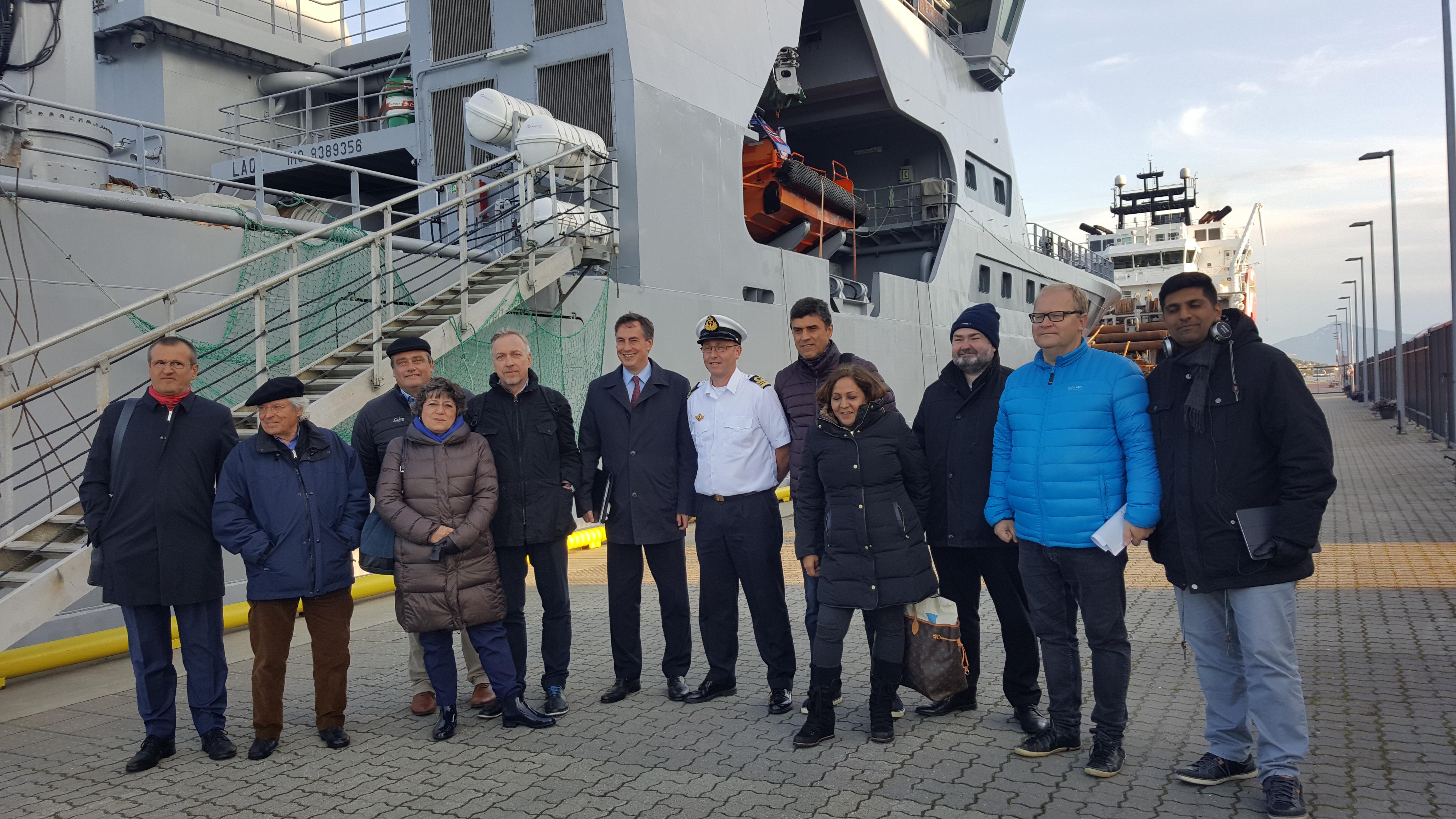 AFET delegation with Frode Urke, Commanding Officer of the Coast Guard patrol vessel KV Barentshav