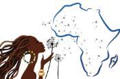 Graphic showing African woman blowing petals over African continent