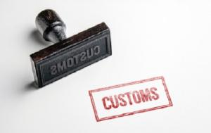 rubber stamp with Customs word