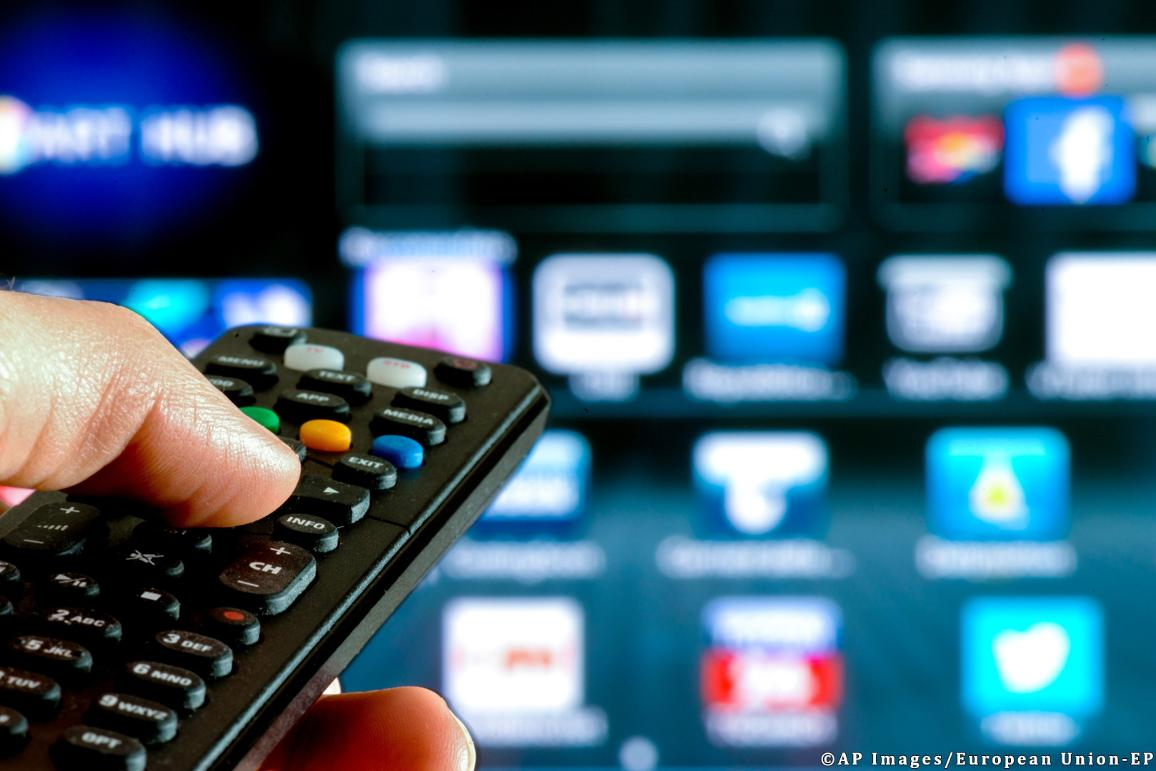 remote control interacting with smart television ©AP images/European Union-EP