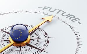 """Compass with the EU flag, directing towards the word """"Future"""""""