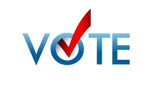 Voting symbol, check mark with vector design. Vote label in blue, check mark in red.