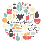 Illustrations depicting a healthy lifestyle