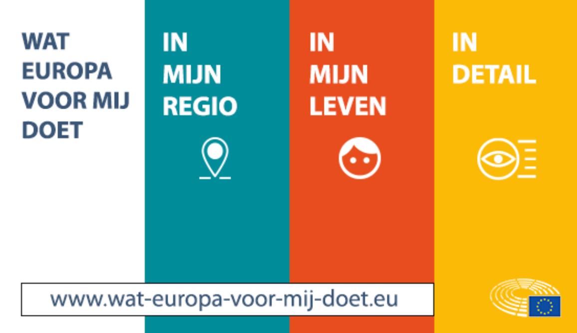 Screenshot van de website www.wat-europa-voor-mij-doet.eu, met de onderdelen 'In mijn regio', 'In mijn leven' en 'In detail'.