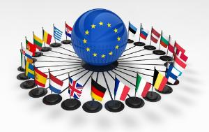 European union flags and business relationships network in EU concept