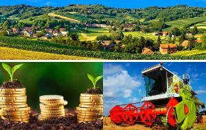 landscape-rural village-combine-harvester