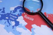 European Union and Russia on the map