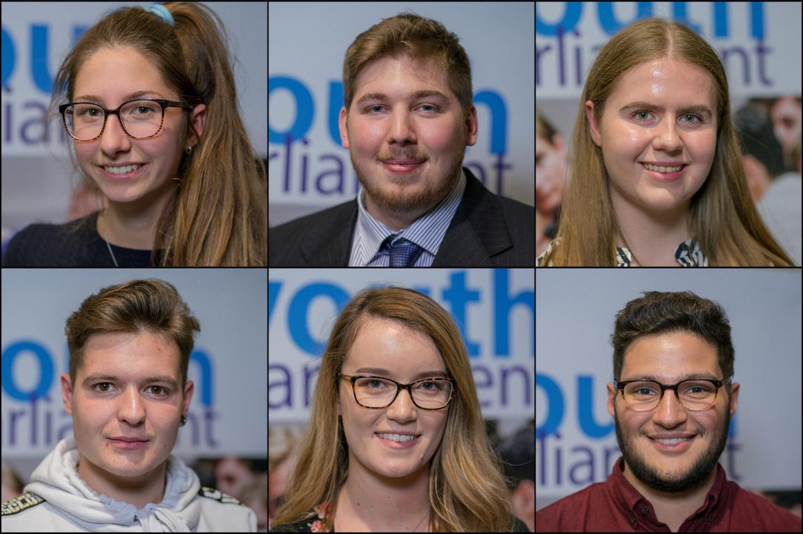 #youthEP: (L-R) Anne DE,Jacopo IT,Tess SW, Deimantas CZ, Ashley IR, Abdou-nour UK are among the 800 participants of the EU youth parliament event