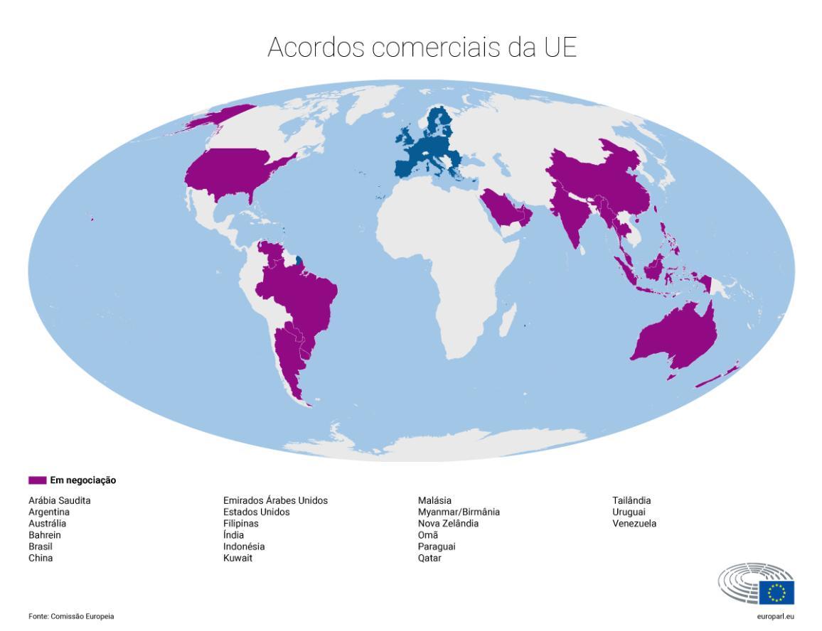 Infografia dos acordos comerciais da UE em negociação.