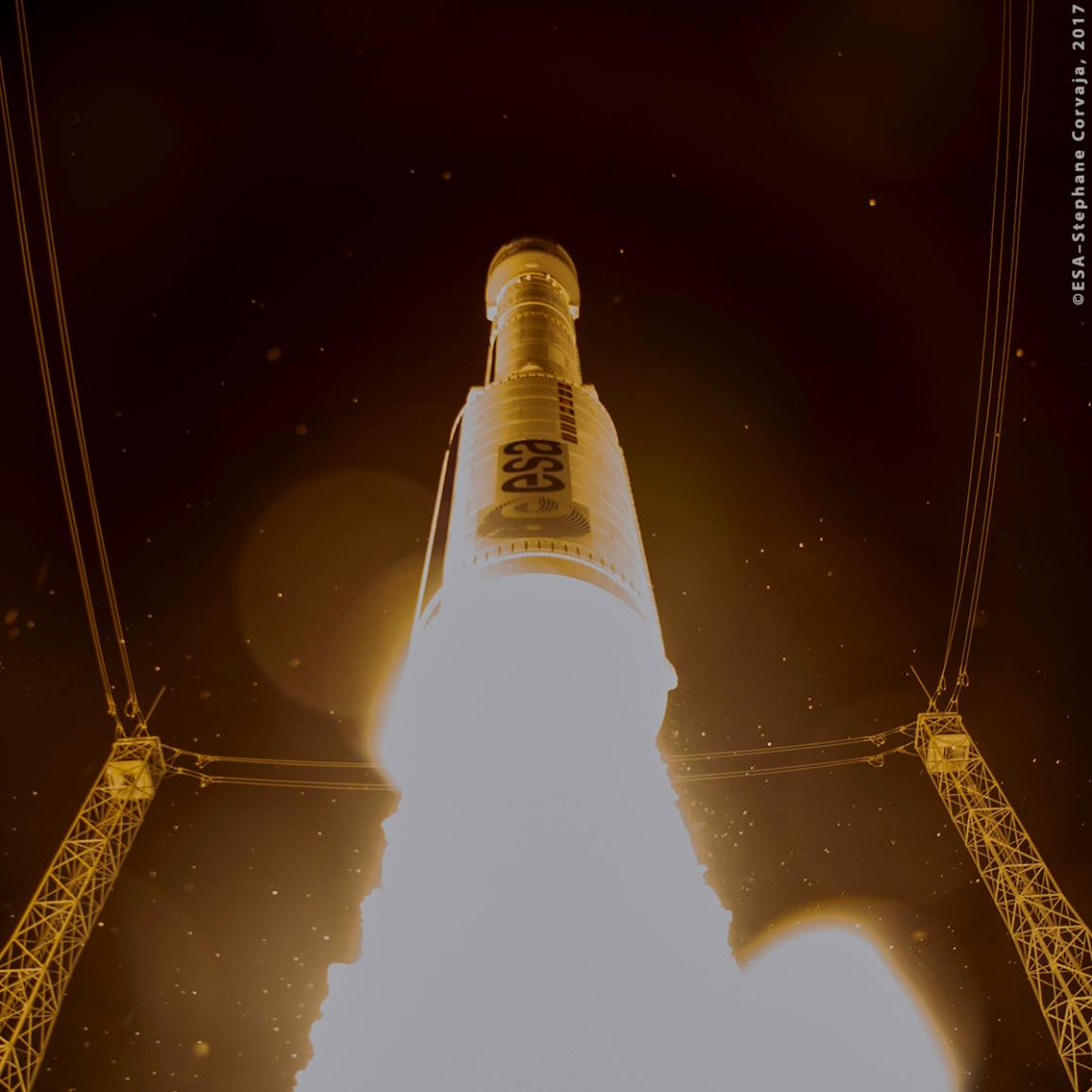 Liftoff of Sentinel-2B on a Vega launcher from Europe's Spaceport in French Guiana at 01:49 GMT (02:49 CET) on 7 March 2017. Sentinel-2B is the second satellite in the Sentinel-2 mission for Europe's Copernicus environment monitoring programme. ©ESA–Stephane Corvaja, 2017