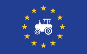 Tractor on EU flag