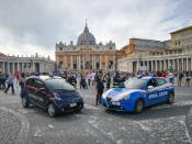 Two cars of Italian security. Carabinieri and Police in Rome.
