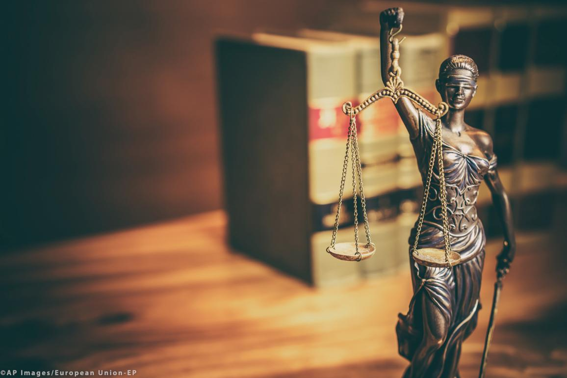 Justitia is the Roman goddess of Justice and was often portrayed as evenly balancing both scales and a sword while wearing a blindfold. ©AP images/European Union-EP
