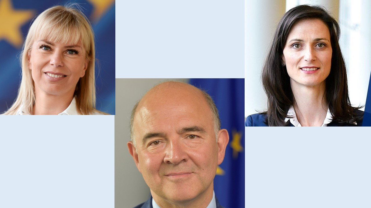 Pictures of Commissioners Elzbieta Bienkowska, Pierre Muscovici and Mariya Gabriel