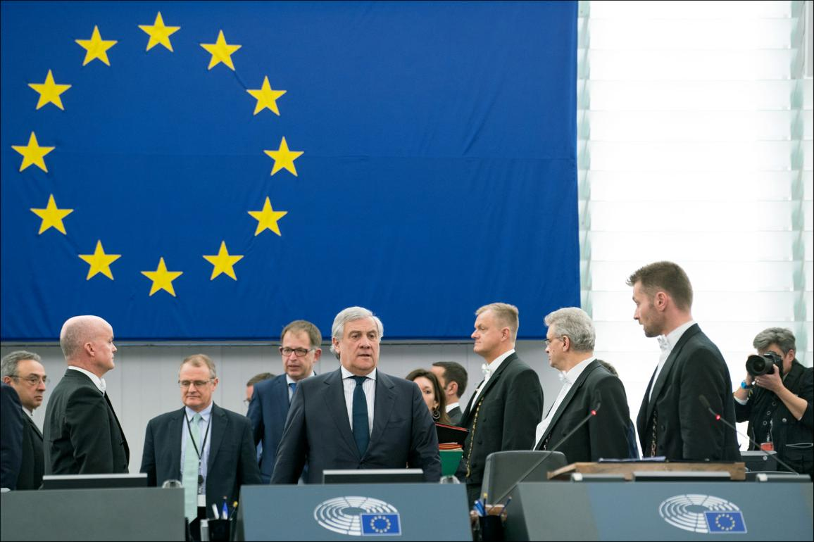 "Opening of February Plenary session by EP President Antonio Tajani ""CC-BY-4.0: © European Union 2019 – Source: EP"""