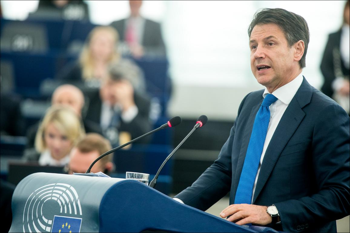 Italian President Minister Giuseppe Conte at the European Parliament presents his vision on the #FutureofEurope and debates with MEPs Council and Commission rappresentatives. CC-BY-4.0: © European Union 2019 – Source: EP