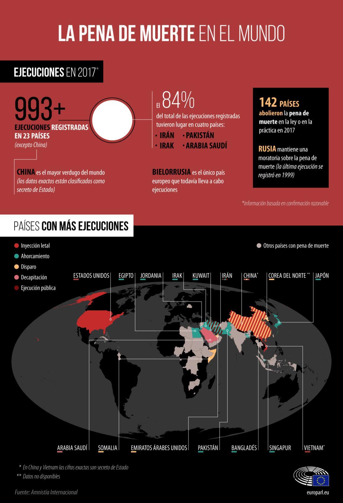 Inforgrafía: La pena de muerte en el mundo