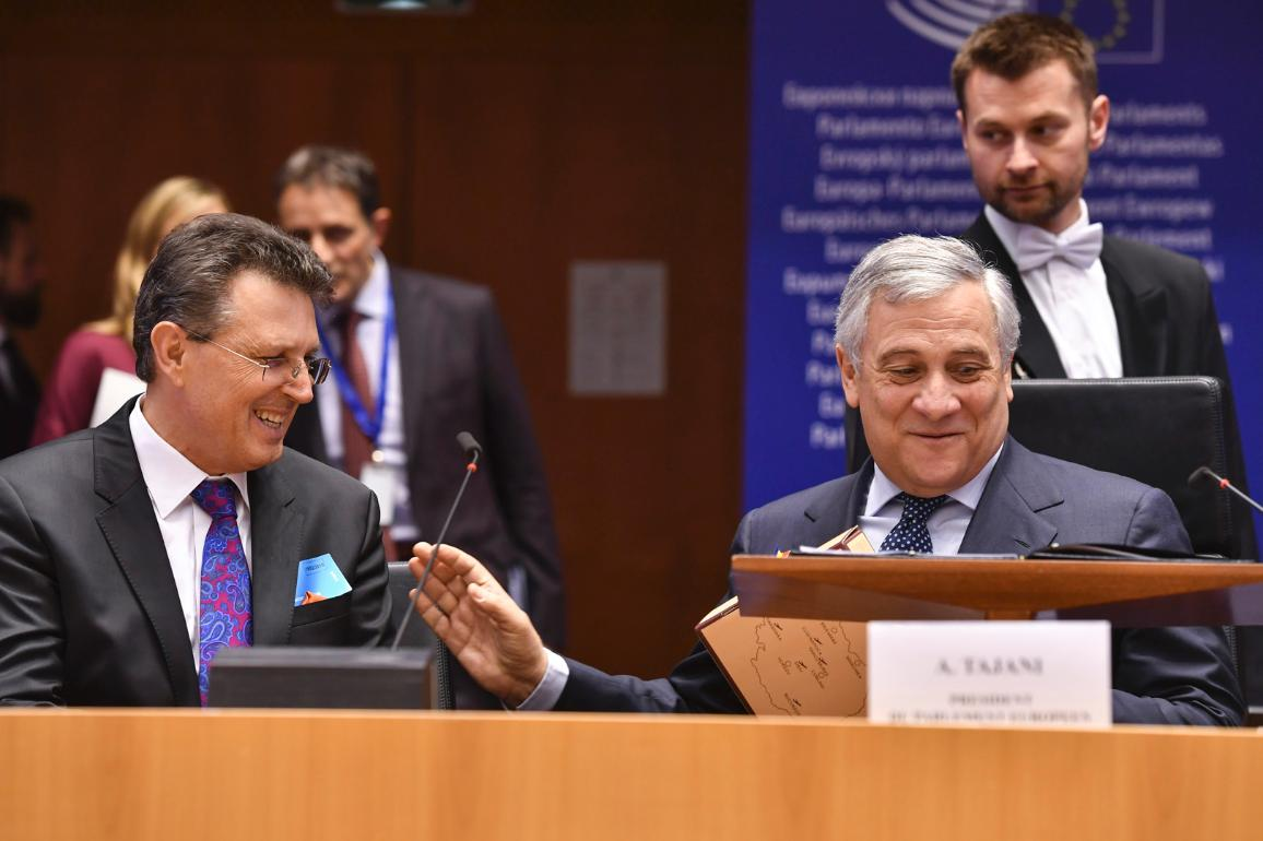 """Key address by EP President Tajani at the European Semester Conference on Stability, Economic Coordination and Governance in the European Union """"CC-BY-4.0: © European Union 2019 – Source: EP"""""""