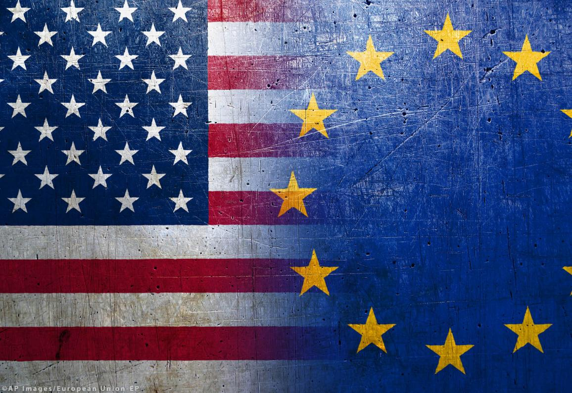 US and EU flags ©AP images/European Union-EP