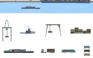 Harbour, crane, container ship, truck, train, multimodal