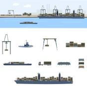 Harbour, crane, container ship, truck, train, multimodal