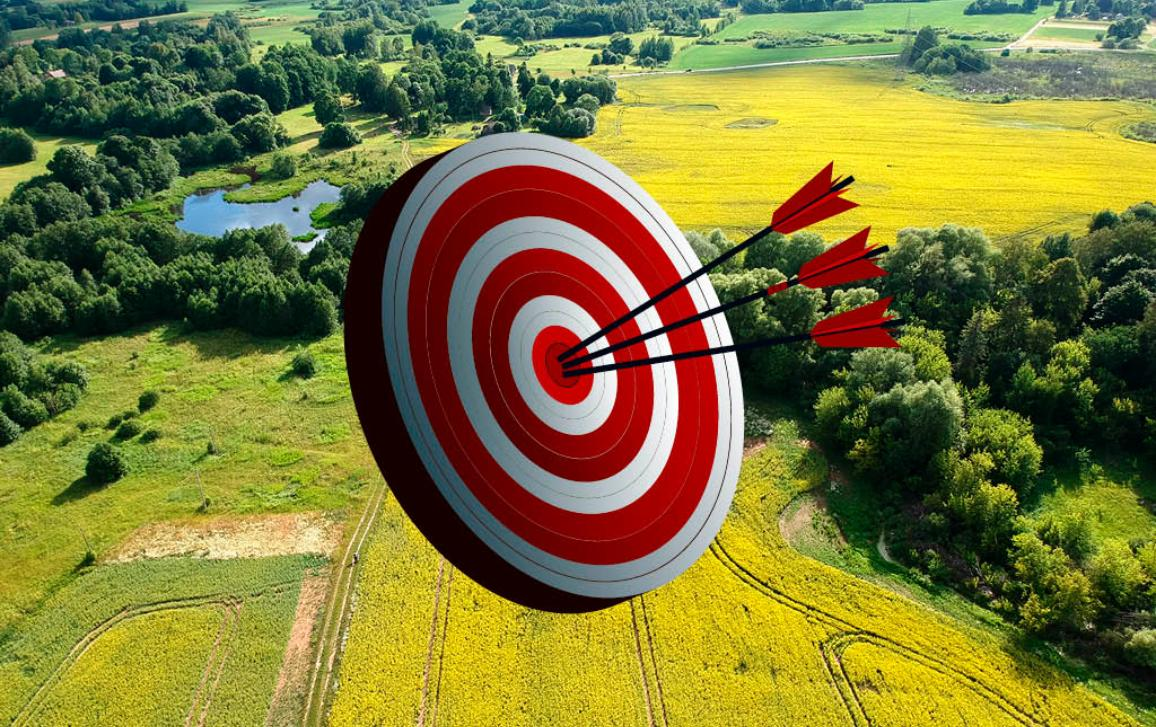 Target in front of a landscape of cultivated fields and forest