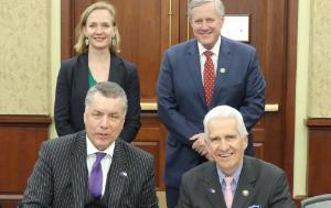 TLD Co-Chairs Christian Ehler and Jim Costa, D-US Vice-Chair Marietje Schaake and ranking member Mark Meadows signing the Joint Statement