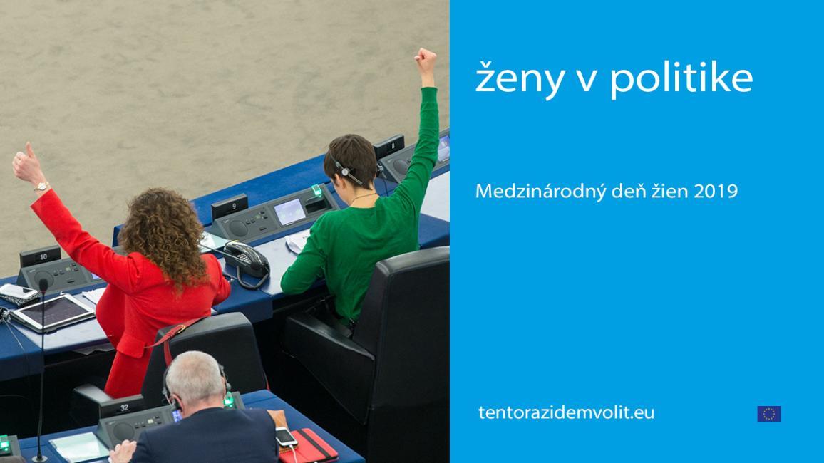 vizuál MDŽ, ženy hlasujúce v pléne, text  na modrom pozadí