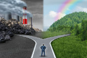 Climate choice concept as a person standing at a cross road between an unhealthy scene with industrial polluted dirty air and piling waste contrasted with a green healthy horizon of grass and forest, blue sky and rainbow inspiring clean air