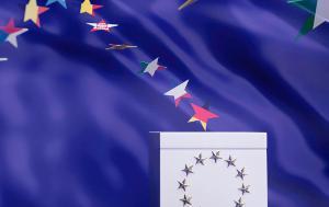 EU ballot box with star flags