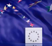 EU ballot box with star flags