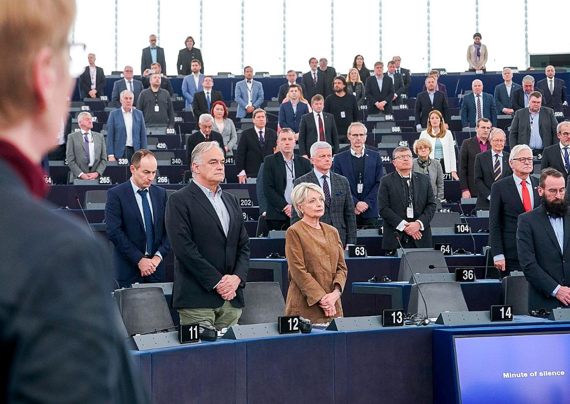 One minute of silence for the victims of the terrorist attacks during the opening of March II plenary session. CC-BY-4.0:  © European Union 2019 – Source: EP