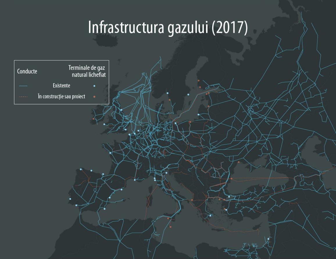 Conducte de gaze naturale din Europa, inclusiv Nord Stream 2 ce trece prin Marea Baltică