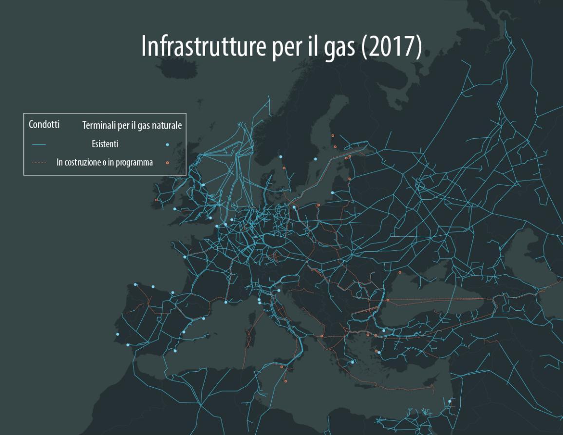 Infografica sulle infrastrutture per il trasporto di gas in Europa