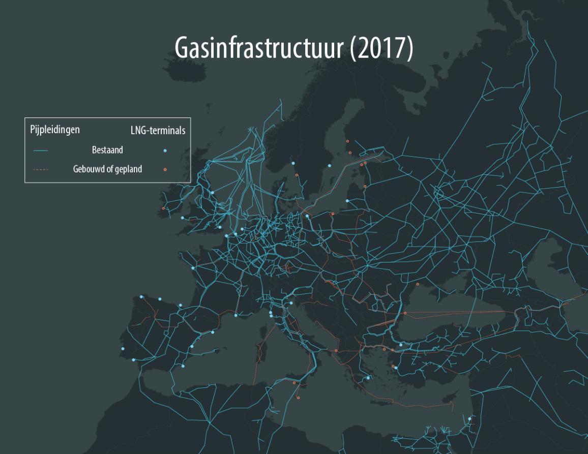 Infografiek over de Aardgaspijpleidingen in Europa, inclusief Nord Stream 2, door de Baltische Zee.