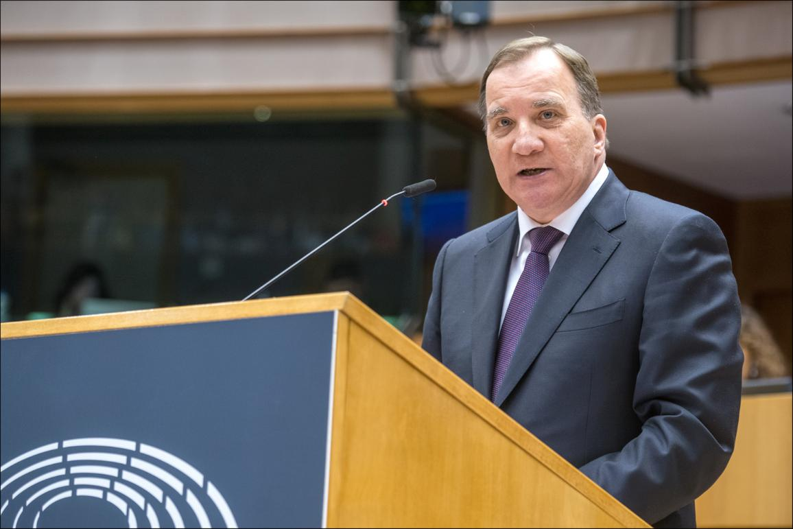 Swedish PM Stefan Löfven during the debate on the Future of Europe in the European Parliament hemicycle CC-BY-4.0:  © European Union 2019 – Source: EP