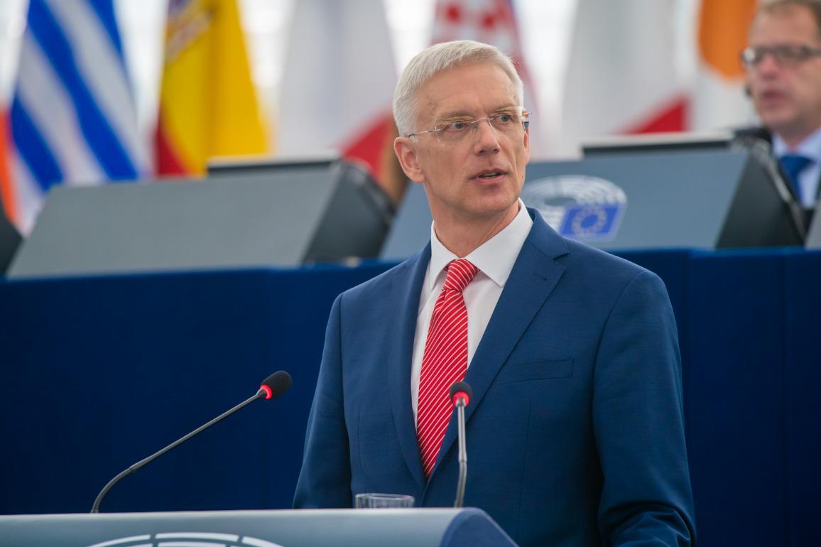 Latvian Prime Minister Arturs Krišjānis Kariņš addresses members_