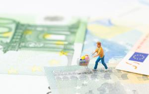 Miniature people figurine with grocery in the shopping cart trolley walking on the bridge through Euro sign on Euro banknotes