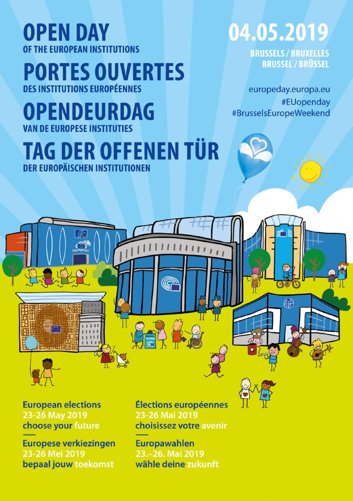 Afbeelding van het affiche betreffende de open dag van 2019 van de Europese instellingen.