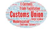 ellipsis with inside the following words in red: E-Customs, Trade, Facilitation, Customs Union, single window, modernisation, electronic systems