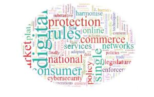 Words consumer, protection, digital, policy, rules, commerce, services in an ellipse