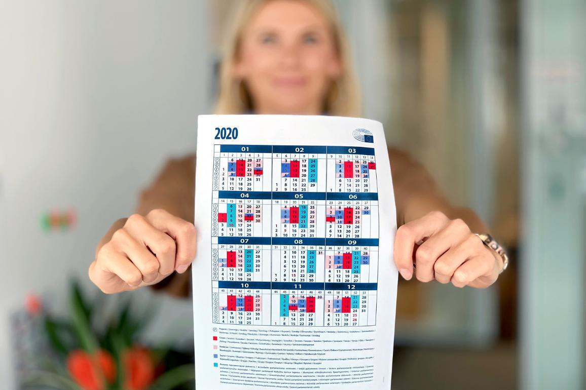Afbeelding van de kalender van het Europees Parlement 2020
