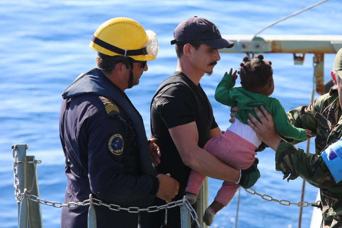 A child been rescue on the sea during Frontex joint operation Themis which supports Italy with border control, surveillance and search and rescue in the Central Mediterranean ©European Union 2018 - Frontex