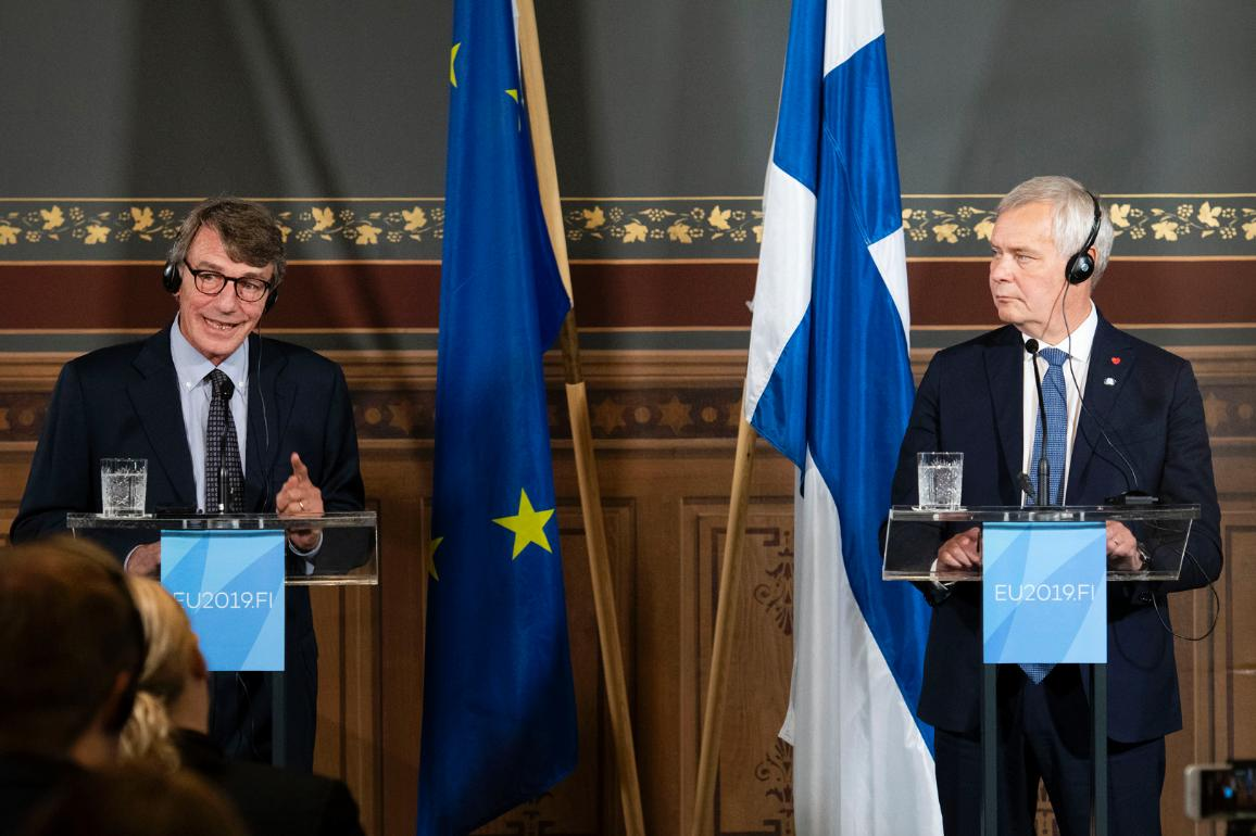 Joint press conference of David Sassoli, EP President, and Antti Rinne, Finnish Prime Minister, before EP Conference of Presidents meets the Finnish government in Helsinki to discuss the priorities of Finland's Presidency of the EU.