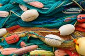 Fishing nets with colorful floats