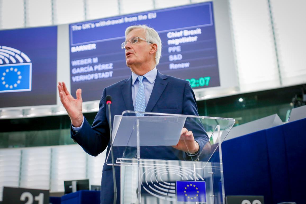 Mišels Barnjē 18. septembrī EP plenārsēdē Strasbūrā uzrunā deputātus